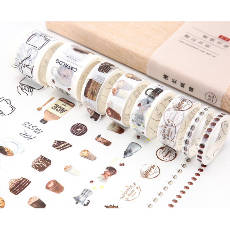 8Pcs PACK 23 Styles washi tape DIY decoration scrapbooking planner masking tape adhesive tape label sticker stationery sticker in Stickers from Home Garden