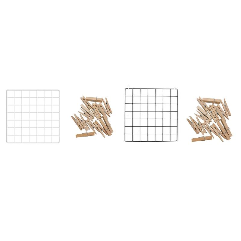 Multi-Function Metal Grid Photo Frame Wall Display Mesh Shelf Organizer Rack Holder + 20Pcs Wooden