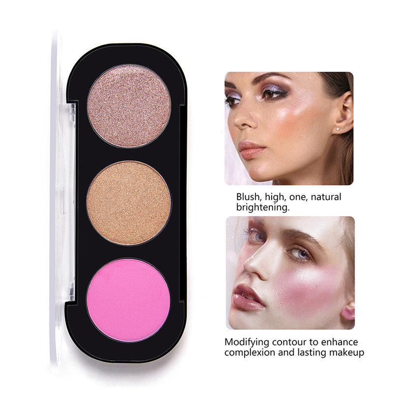 Face Contour Blush Palette Powder Highlighter Makeup 3 Colors Shimmer Matter Blush Bronzer Cosmetics Maquiagem