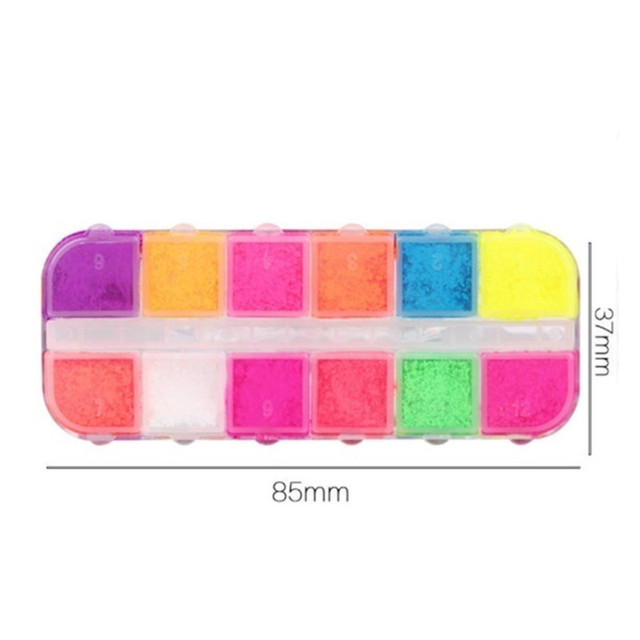 12 Colors/Box Fluorescent Neon Pigment Eye Shadow Makeup Palette Glitter Shimmer Eyeshadow Face Body Nail Art Cosmetics Tools 5