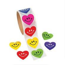 100шт/рулон улыбкой катушки наклейки - наклейка цвет подсолнечника смайлик Звезда сердце выражение день рождения животного рыбы Рождество