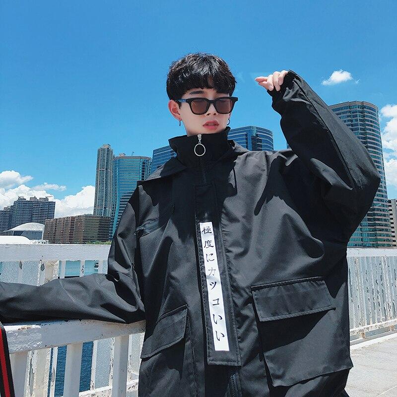 2019 automne école Long vent veste vêtements de travail même chapeau hommes facile amoureux étudiant hip hop coupe-vent japon Style noir violet