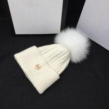 Yeni kış şapka m beyaz tilki örgü şapka gerçekten MAO qiu han baskı gelgit joker eğlence sıcak ve güzel öğrenciler skullies ve bere