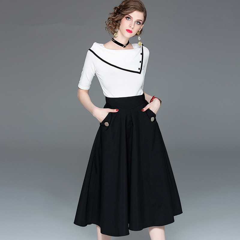 Office Lady Clothing Set Women Summer Spring Black And White Knitted Tops Tees And Long Skirt Black Woman Vestidoes Suits NS278