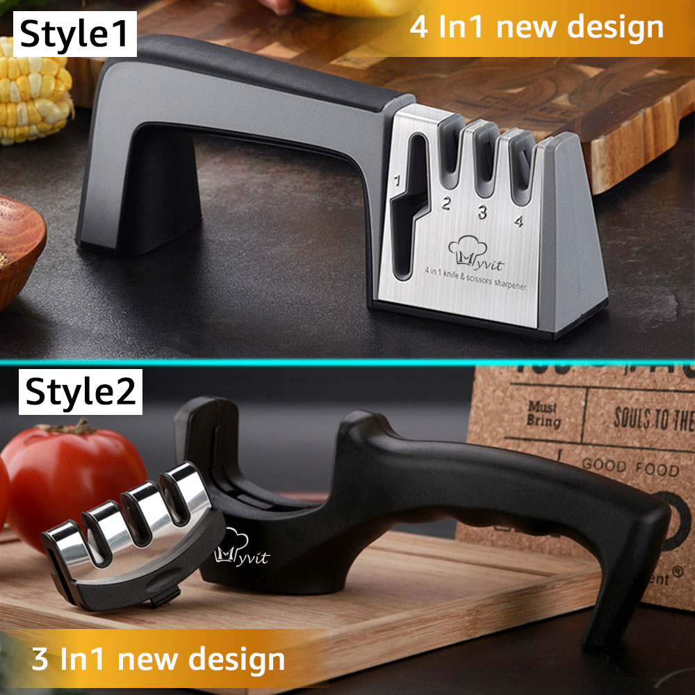 Knife Sharpener 4 in 1 Diamond Coated&Fine Rod Knife Shears and Scissors Sharpening stone System Stainless Steel Blades 6