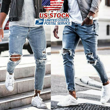 цена на Men Stretchy Ripped Skinny Biker Embroidery Print Jeans Destroyed Hole Taped Slim Fit Denim Scratched High Quality Jean