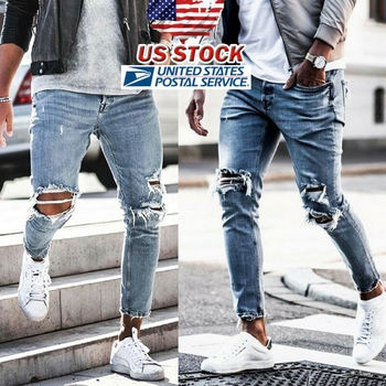 Men Stretchy Ripped Skinny Biker Embroidery Print Jeans Destroyed Hole Taped Slim Fit Denim Scratched High Quality Jean
