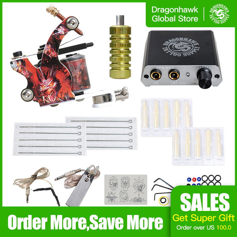 Complete 1 Tattoo Machine Gun Set  Power Supply Set Beginner Tattoo Kit