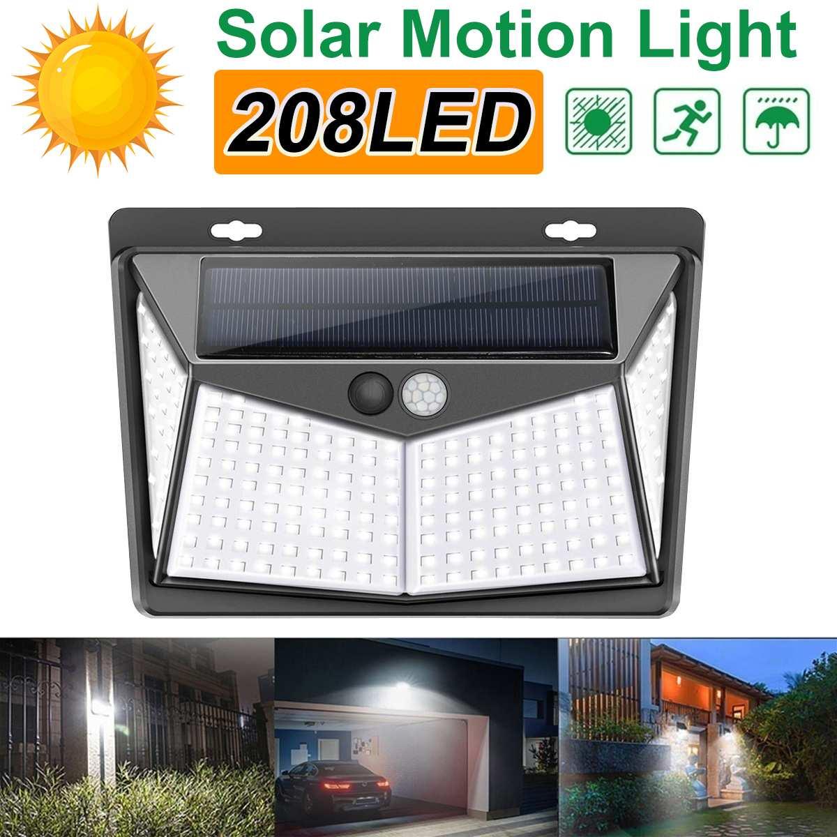 208 LED Solar Light 3 Mode Outdoor Solar Lamp PIR Motion Sensor Wall Light IP65 Solar Powered Sunlight For Garden Decoration