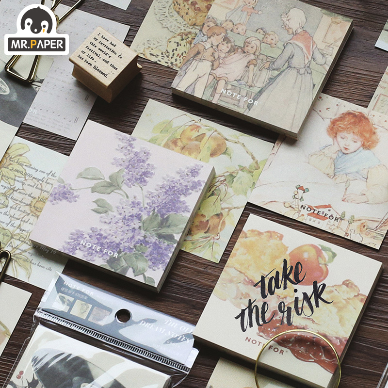 Mr.Paper 90pcs/total 3 Designs Medieval Old Journal Canned Memo Pads Cycle Notepad Diary Writing Note Down Notepad Stationery