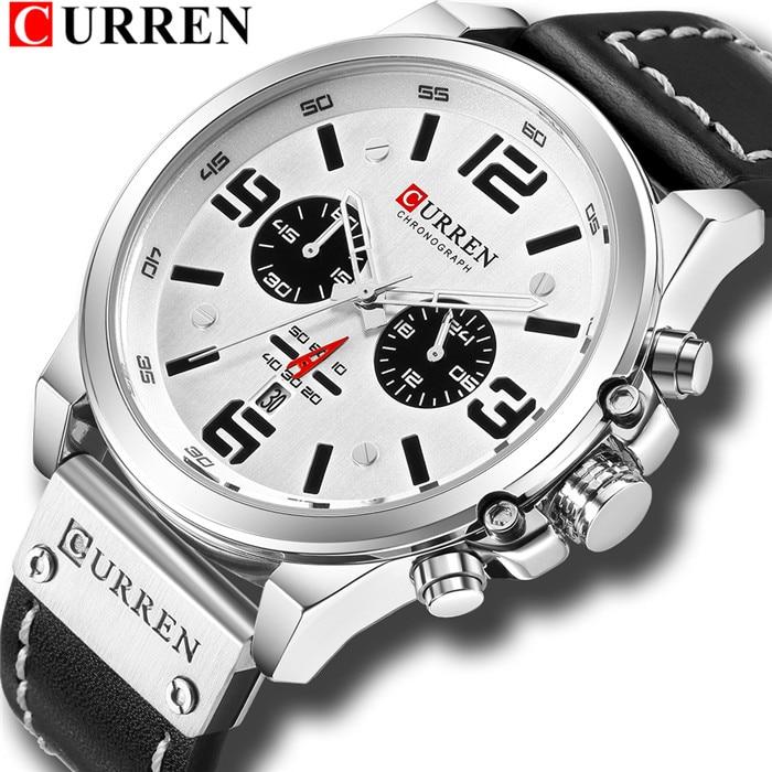 CURREN Mens Watches Top Luxury Brand Waterproof Sport Wrist Watch Chronograph Quartz Military Genuine Leather Relogio Masculino 8