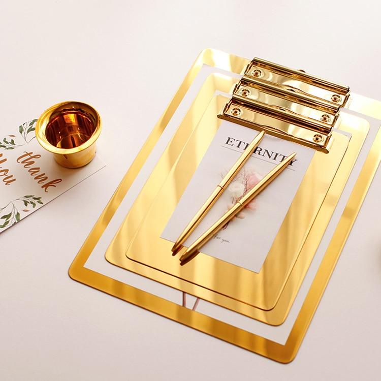 Gold Stainless Steel File Folder Writing Pad Menu Folder Information Folder Clip Board Clipboard A4 Paper Holder Office Board