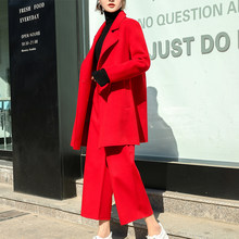 2019 autumn and winter coat pants two sets of women 100% cashmere short coat fashion sexy red cashmere party women's clothing()