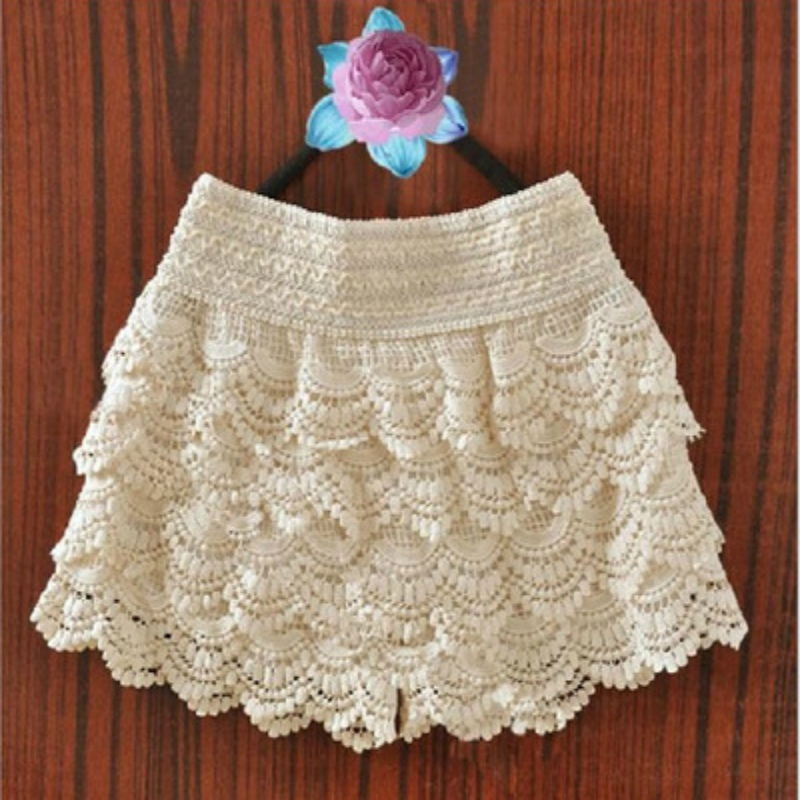 Summer Shorts Sweet Style Laminated Lace Crochet Elastic Waist Slim Short Pants Fashion Womens Solid Princess Sweet Shorts