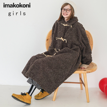 Coat Woolen Imakokoni Design Lamb-Hair-Long-Coat Japanese Women's Buckle College-Horn