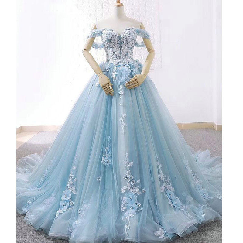New Arrival Sky Blue Off The Shoulder 3D Flowers Lace-up Back 3D Floral Appliques Tulle Bridal Gown Custom-made Wedding Dresses