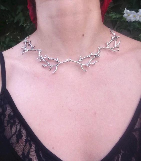 Antler Takken Ketting Heks Fantasy Forest Sieraden Zilveren Plating Gothic Verklaring Bruiloft Magic Wiccan Fashion Gift Vrouwen