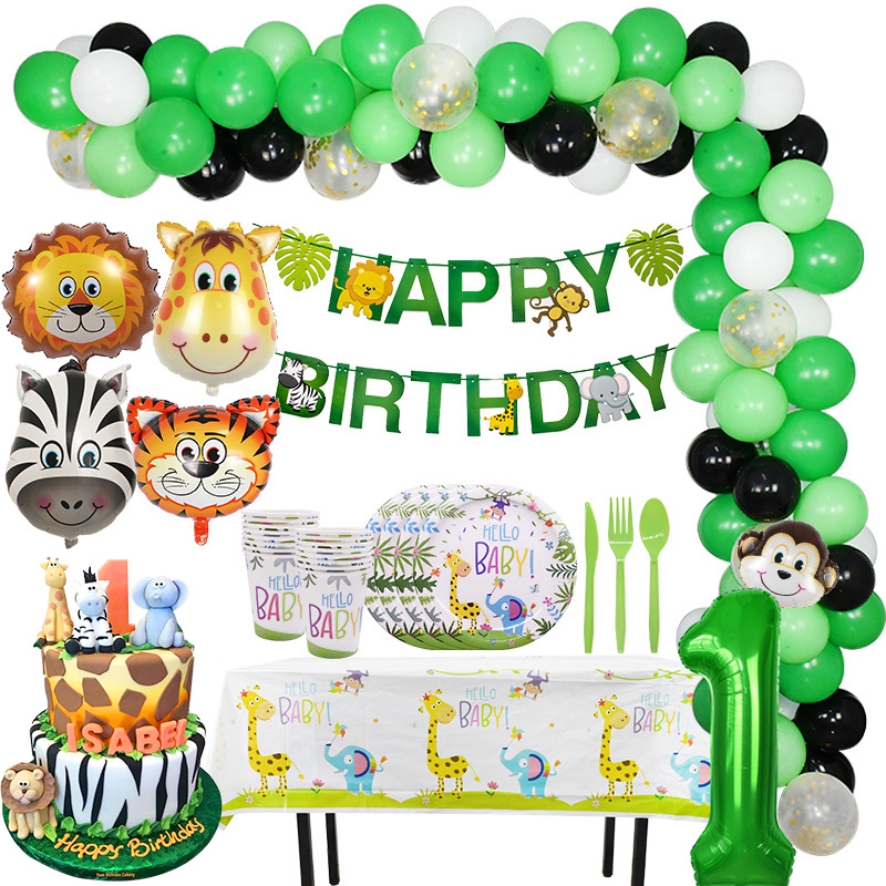 Jungle Birthday Party Decoration Green Number Balloons Animal Balloon Safari Party Paper Cup Plate Banner For Kids Party