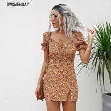 Puff Sleeve Women Summer Floral Print Mini Dress Sexy Slit Lace-up Beach Party Bodycon Dresses Elegant Fashion V Neck Sundress