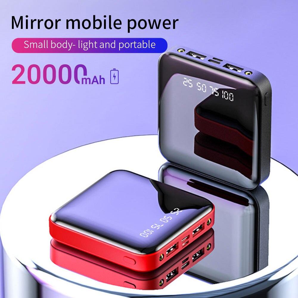 20000 мАч Мини-банк питания для телефона Xiaomi 10000 мАч портативное зарядное устройство светодиодный зеркальный внешний аккумулятор повербанк п...