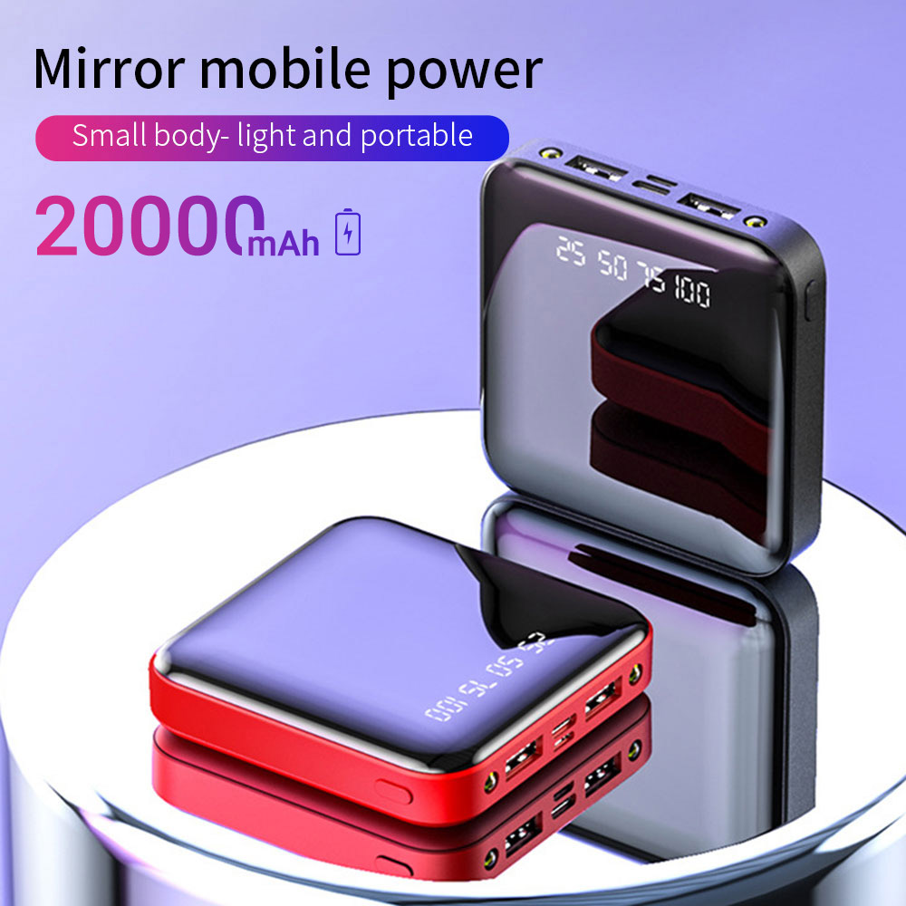 20000mAh Mini Power Bank For Xiaomi Phone 10000 Mah Portable Charger LED Mirror Back Power Bank External Battery Pack Powerbank