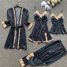 Autumn 4 Pieces Women Pajamas Sets Gown & Robe Sleepwear Velvet Nightwear Pyjama Strap Slee