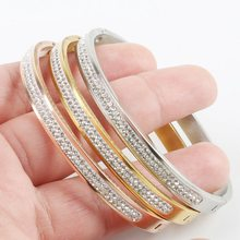 Trendy Jewelry 3 Colors Rose Gold Silver Two Row Crystal Rhinestone Pave Stainless Steel Bracelets Bangles for Women Girl Gifts()