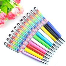100 Stks/partij Mooie Lady Rainbow Stylus Pen Crystal Balpen Diamant Balpen Unieke Ontwerp Layer Crystal Pen 10 Kleuren