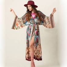 New Print Cotton Plus Size Cover Up Kaftan Beach Cover Up Women Tunic Pareos De Playa Mujer Bathing Suit Cover Ups Dress random floral print plus size beach cover up