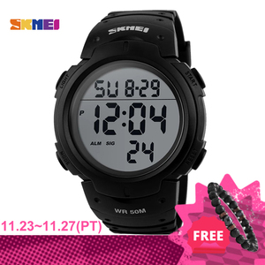 SKMEI 1068 Fashion Outdoor Sport Watch Men Big Dial Led Digital 5Bar Waterproof Wristwatch reloj hombre Luxury Brand Man Watches