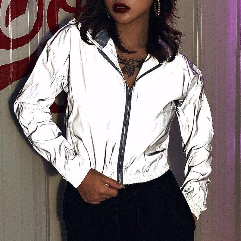 2020 Full Reflective Jackets Women Personality Windbreaker Jacket Coat Female Hooded Streetwear Hip-hop Shinny Jacket Zipper