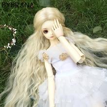 Bybrana BJD peruk için 1/3 1/4 1/6 1/8 yüksek sıcaklık Fiber kız siyah ve beyaz degrade düz saç amca Modelsfor bebek