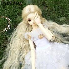 Bybrana bjd peruca para 1/3 1/4 1/6 1/8 fibra de alta temperatura menina preto e branco gradiente cabelo em linha reta tio modelsfor bonecas