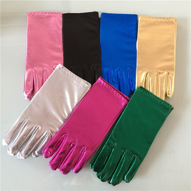 Men Women Short Leather Gloves Gold Silver Fashion Wrist Party Gloves Shinning Bright Stage Performance Gloves For Unisex
