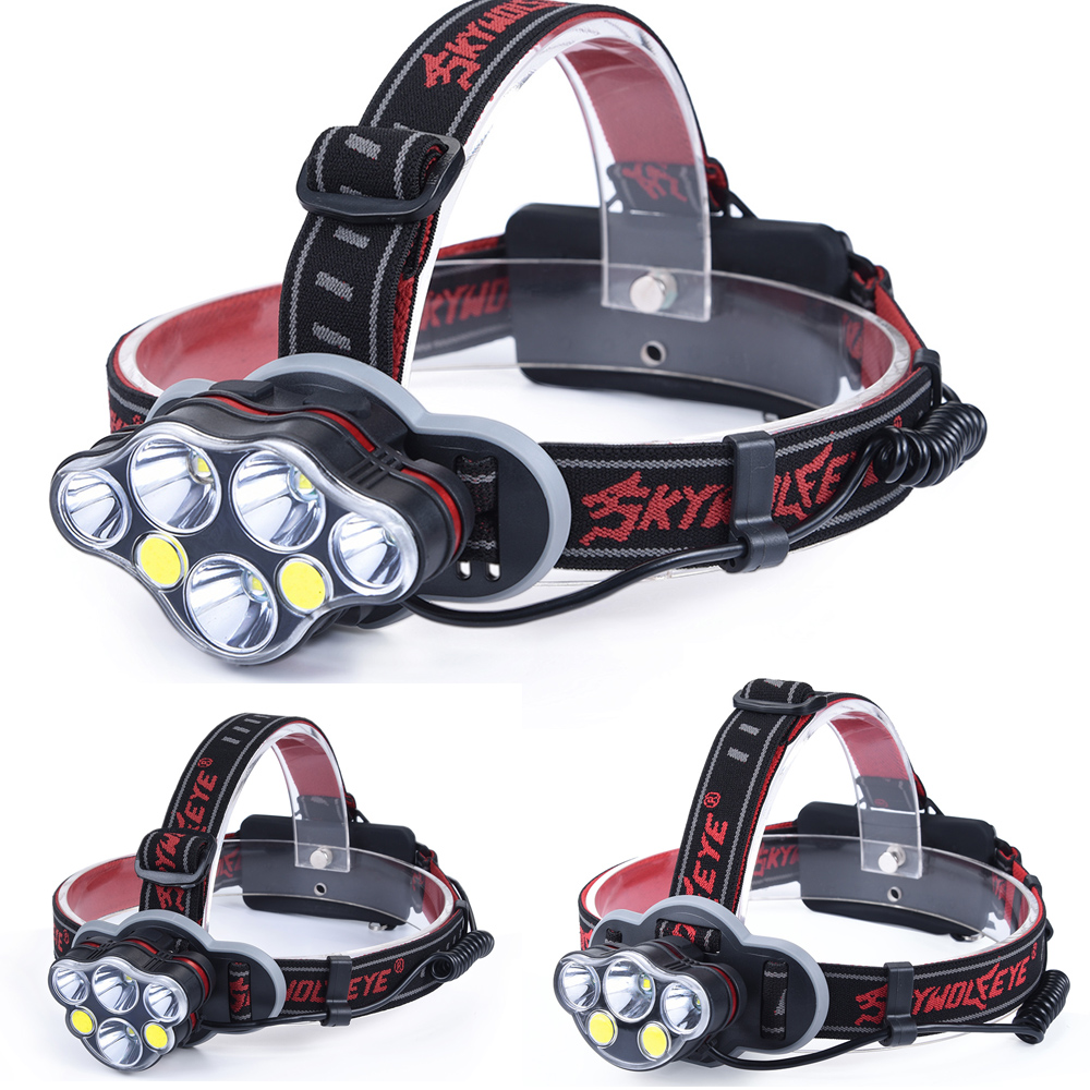 50000LM Headlight T6+red COB LED Head Lamp USB Rechargeabl Head Light 8 Modes Lantern Lighting Flashlight Torch+18650 Battery