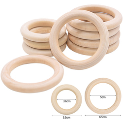 5Pcs 5.5/6.5cm Natural Wood Rings Baby Teething Rings Infant Teether Kids Toy Wooden Beads For DIY Craft Gift Home Decoration