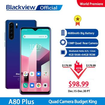 Blackview A80 Plus Mobile Phone Quad Rear Camera 4GB RAM+64GB ROM Octa Core 6.49 Inch In-cell Waterdrop Smartphone 4G Cellphone