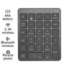 بلوتوث لوحة المفاتيح الرقمية 2.4G اللاسلكية بروتابلي لوحة المفاتيح البلاستيكية حالة AAA بطارية لباد أندرويد ويندوز الهاتف ماك بوك اللوحي