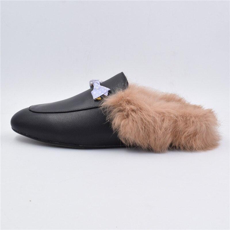 Туфли женские с мехом кролика, пушистые, сетчатая подошва, средней длины, одежда для осени и зимы