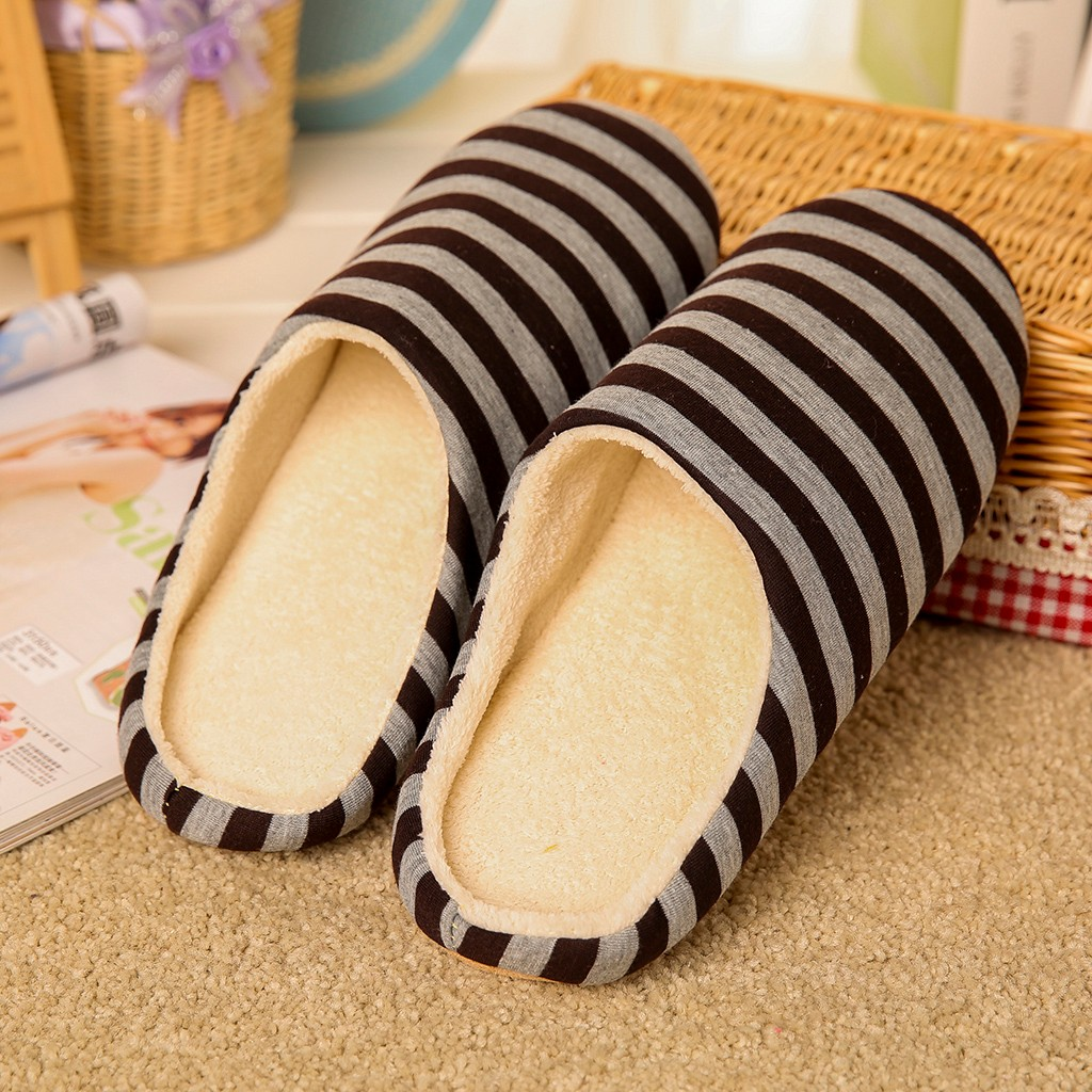 SAGACE Couples Men Striped Slipper for Home Classics Flat Flock Warm Non-slip Floor Home Slippers Indoor Shoes zapatos de hombre