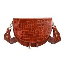 Crossbody Alligator Semicircle Saddle Crocodile Shoulder Bags SF
