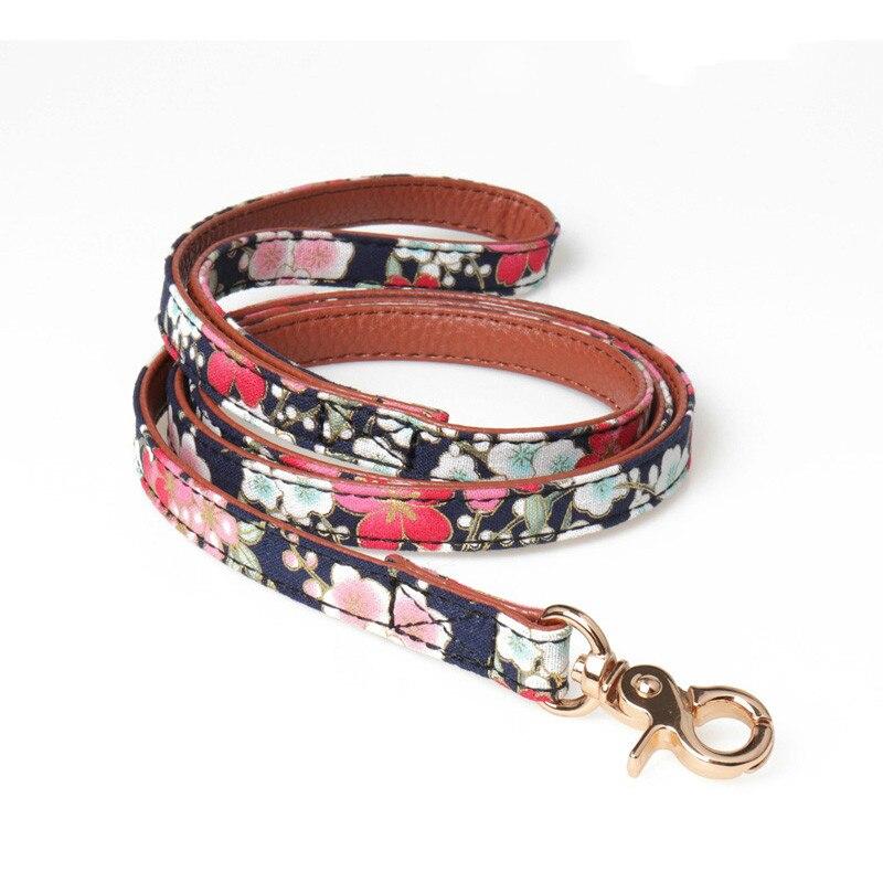 Pretty PU Leather Dog Collar Bow Flower Print Leash Bandana Outdoor Pet Small Puppy Walking Lead Chain