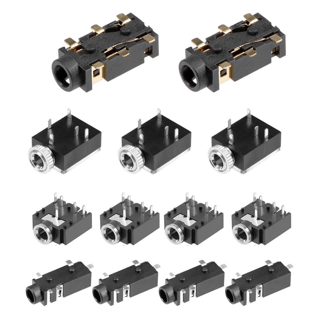 uxcell <font><b>4</b></font>/10/20/50/100Pcs Socket Headphone Stereo <font><b>Jack</b></font> PCB Mount 2.<font><b>5</b></font>/<font><b>3</b></font>.5mm <font><b>3</b></font>/<font><b>4</b></font>/<font><b>5</b></font>/6 <font><b>Pin</b></font> Audio Video Connector Black image