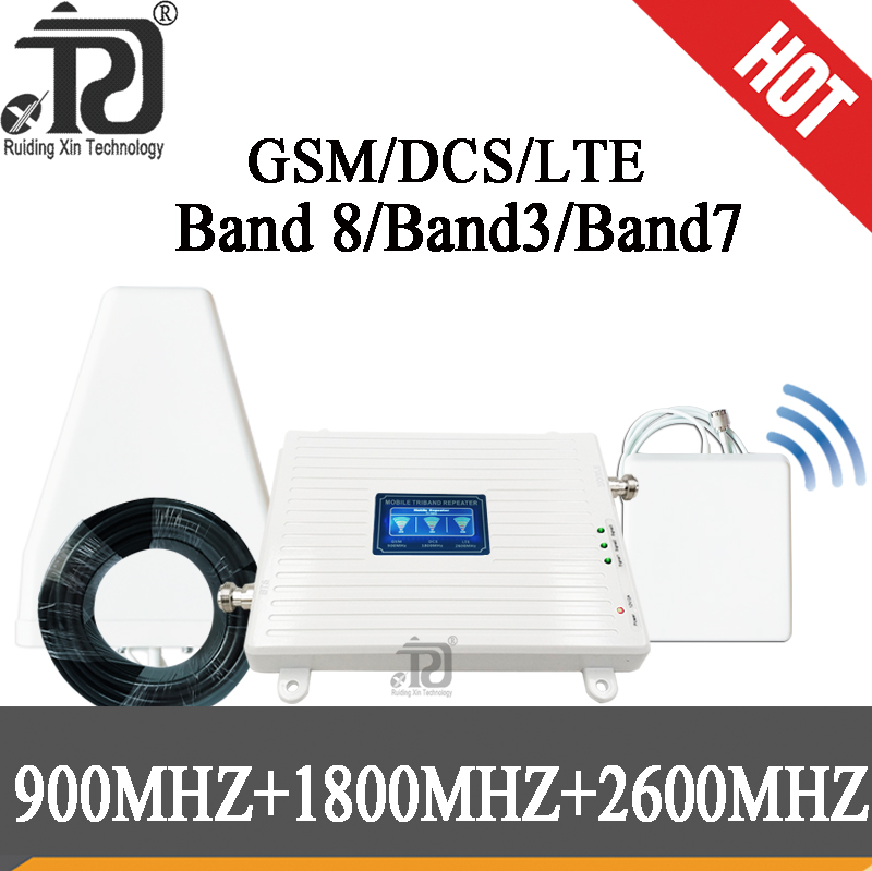 GSM 900 DCS 1800 FDD LTE 2600 2G 3G 4G Data Tri Band Signal Repeater 4g 1800 Cellular Signal Booster Mobile Amplifier With LCD