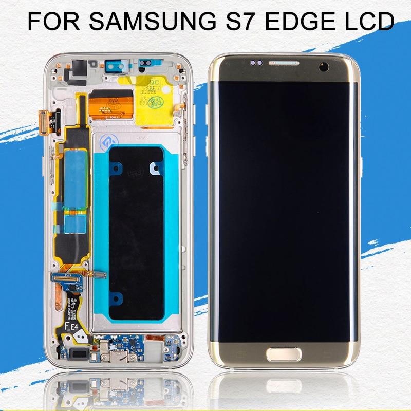 Affichage de bord Dinamico Amoled Lcd S7 pour Samsung Galaxy G935 Lcd G935F écran tactile numériseur assemblée avec cadre