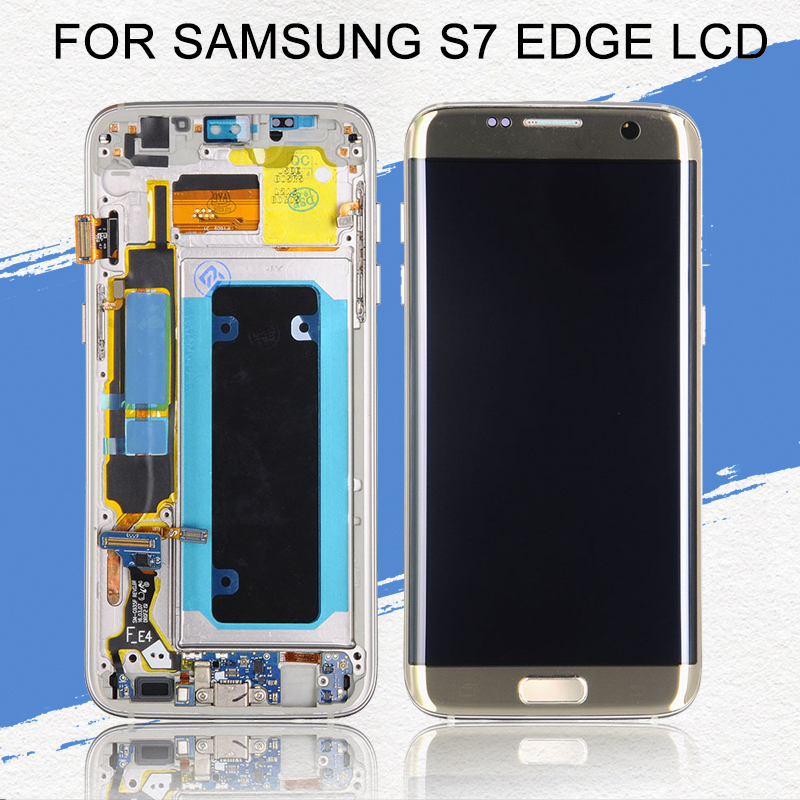 Dinamico OLED G935 Lcd Display For Samsung Galaxy S7 Edge Lcd Screen G935F Display Touch Screen Digitizer Assembly With Frame