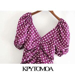 KPYTOMOA Frauen 2020 Chic Mode Polka Dot Drapierte Mini Kleid Vintage Puff Ärmeln Zurück Zipper Weibliche Kleider Vestidos Mujer