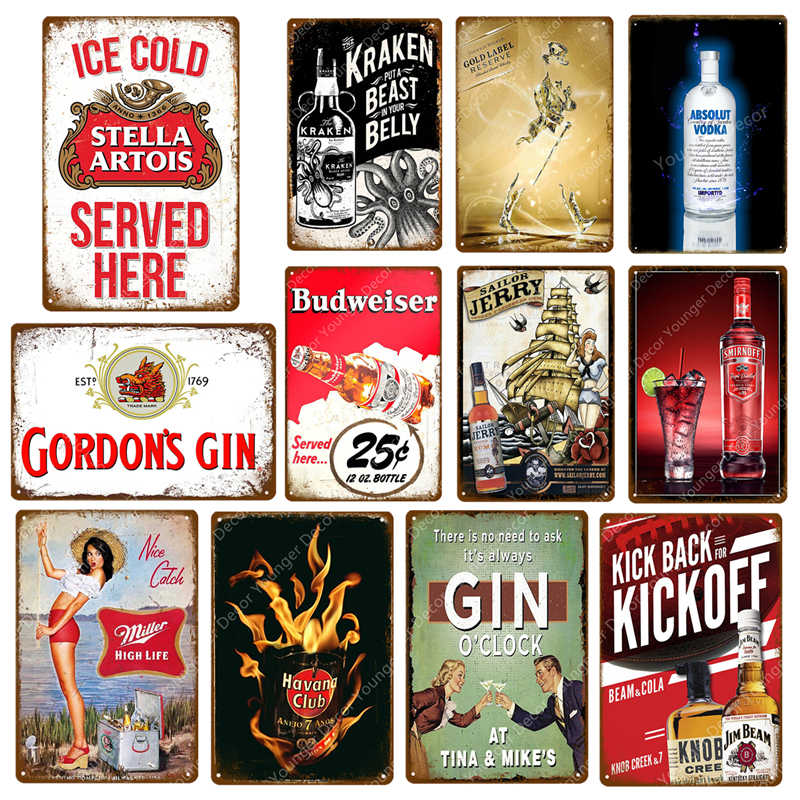 Ijs Koud Stella Artois Miller Smirnoff Vintage Metalen Borden Plaque Bar Pub Decoratieve Plaat Bier Reclame Muur Decor YJ056