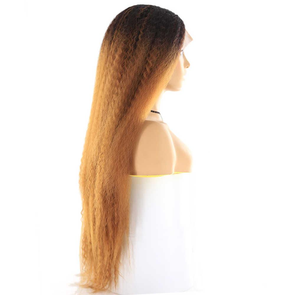 X-TRESS Largo rizado pelo sintético recto pelucas de encaje para las mujeres Ombre marrón Color rubio peluca con malla frontal con cabello Natural