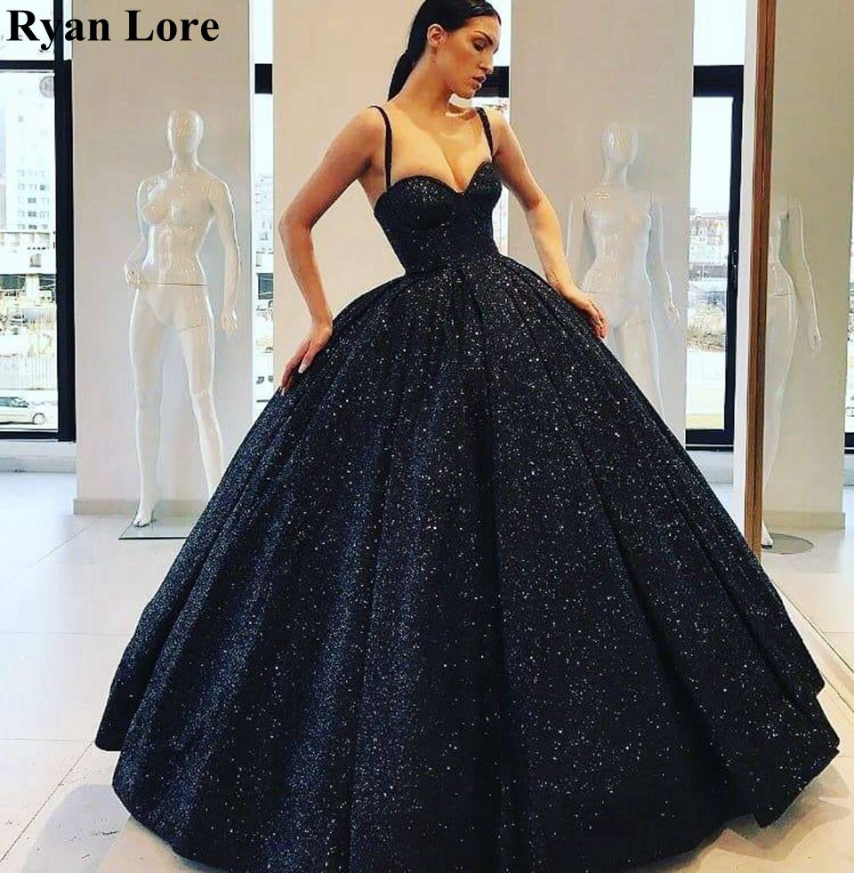 2020 Sequined Ball Gown Evening Dresses Sparkle Prom Gowns Elegant Sweetheart Neck Robe Long Formal Party vestidos de festa